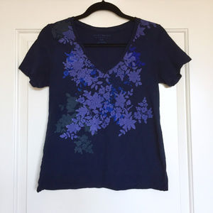 Lucky Brand Navy V Neck with Lavender Floral Print